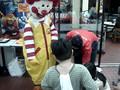 Ronald McDonald gives Miggy a bike
