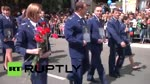 Crimean prosecutie Natalia Poklonskaya marches at Victory Day parade
