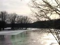 Skiing on the frozen Mississippi river