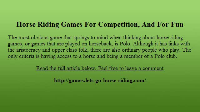 Horse Riding Games For Competition, And For Fun