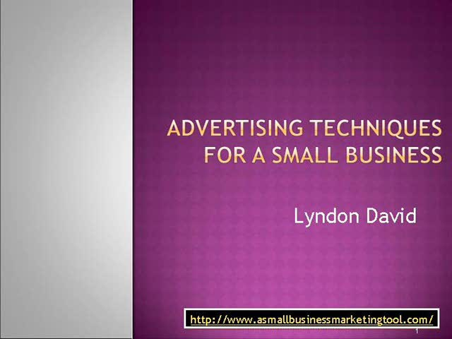 Small Business - Advertising Techniques For A Small Business
