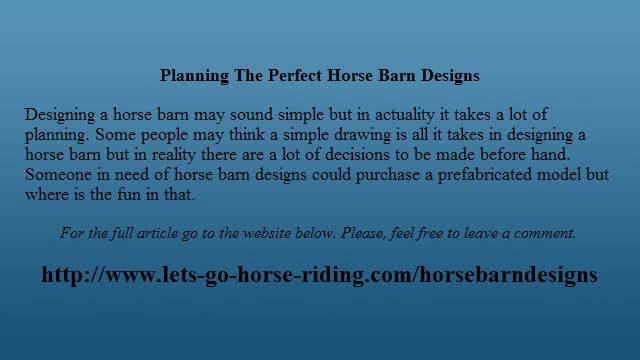 Planning The Perfect Horse Barn Designs
