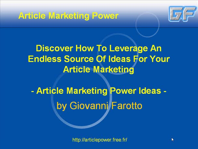 Article Marketing Power Ideas