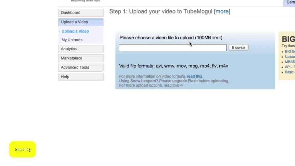 Using Tubemogul upload video to multiple sharing sites